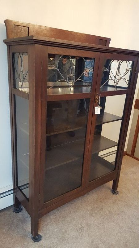 Antique china cabinet with glass front doors and glass side panels with  leaded glass decorative tops - Antique China Cabinet With Glass Front Doors And Glass Side Panels