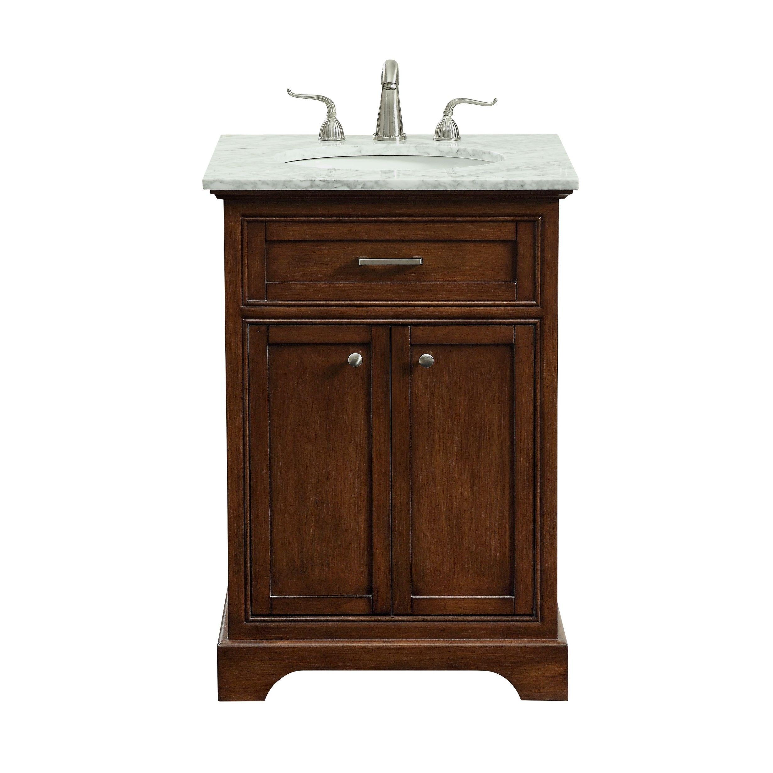 Elegant 24 in. Single Bathroom Vanity set in Teak (Brown)   Single ...