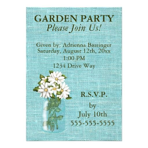 Vintage Shabby Linen, Daisies in Jar Invitation #vintage #linen #daisies #invitaitions #gardenparties #masonjars #beautifulcards