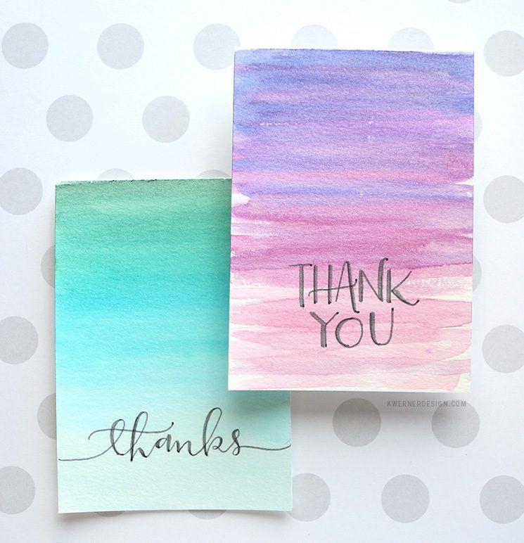 Easy Diy Thank You Cards Ombre Watercolor Diy Watercolor Cards