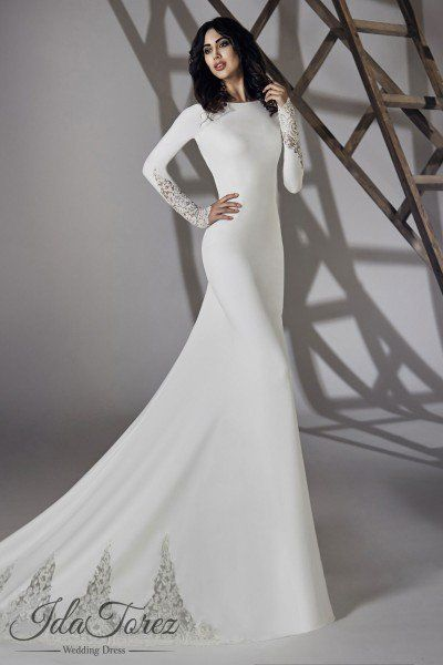 Modest Trumpet-Mermaid Bateau Natural Court Train Stretch Crepe Ivory Long  Sleeve Open Back Wedding Dress 01064 da0e304a6