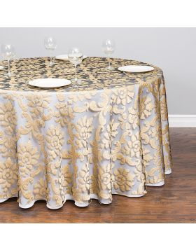 118 In Round Baroque Sheer Tablecloth Gold Wedding Table Linens