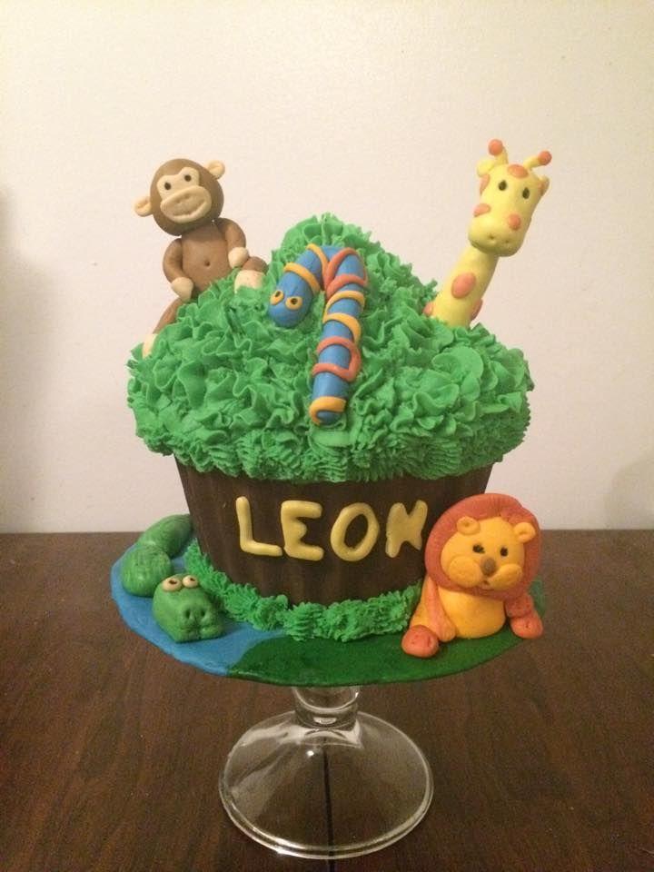 Jungle theme giant cupcake .. 1st birthday smash cake