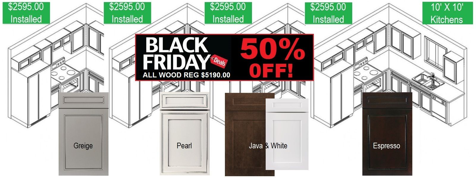 Kitchen Cabinets Black Friday Sale 50 Off Select Cabinet Finishes All Wood Kitchen C Kitchen Remodel Design Kitchen Cabinets And Countertops Black Kitchens