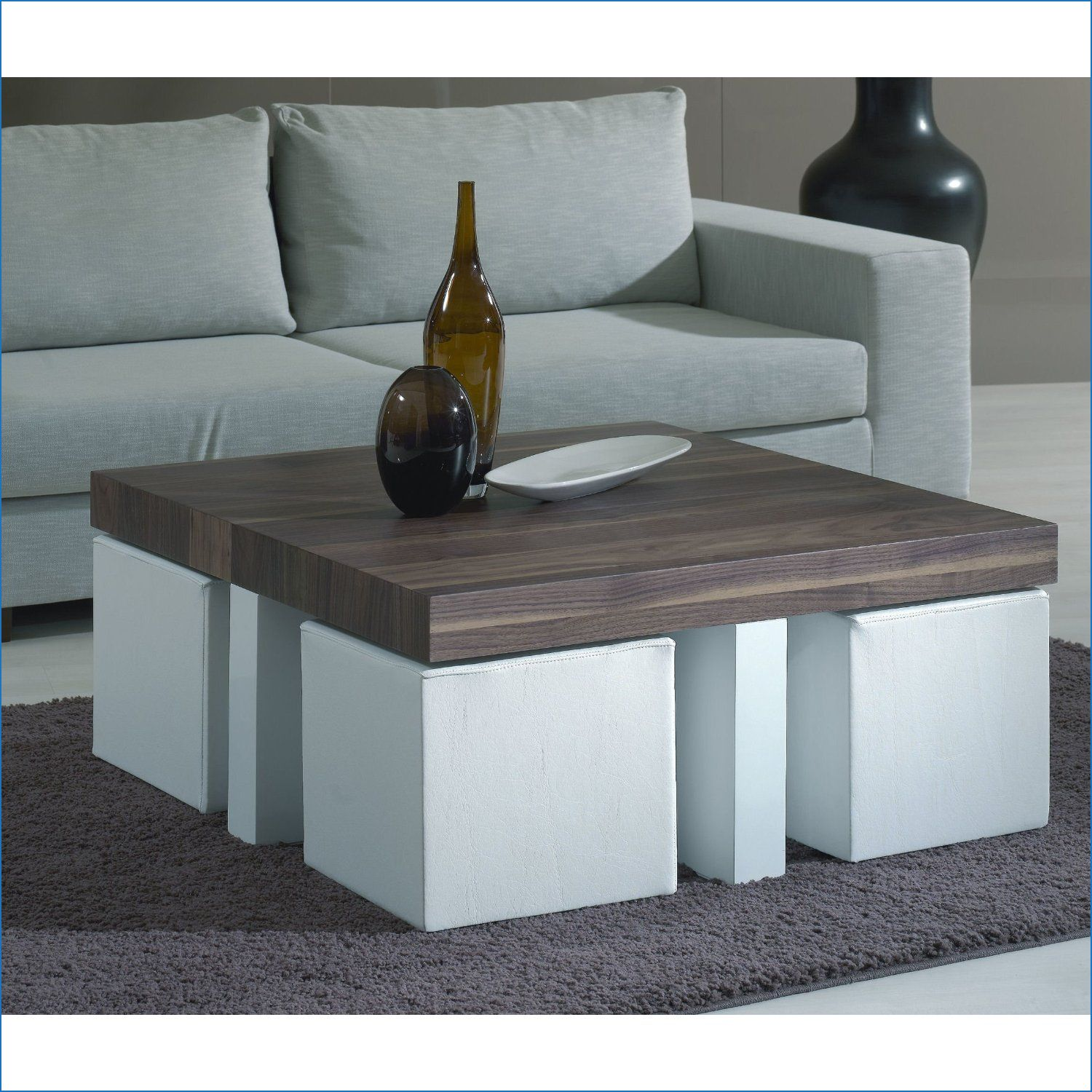 Square Coffee Table With Ottomans Underneath Download Coffee Table With Stools Under Mesa De Centro Convertible Muebles De Sala Modernos Muebles De Madera Sala