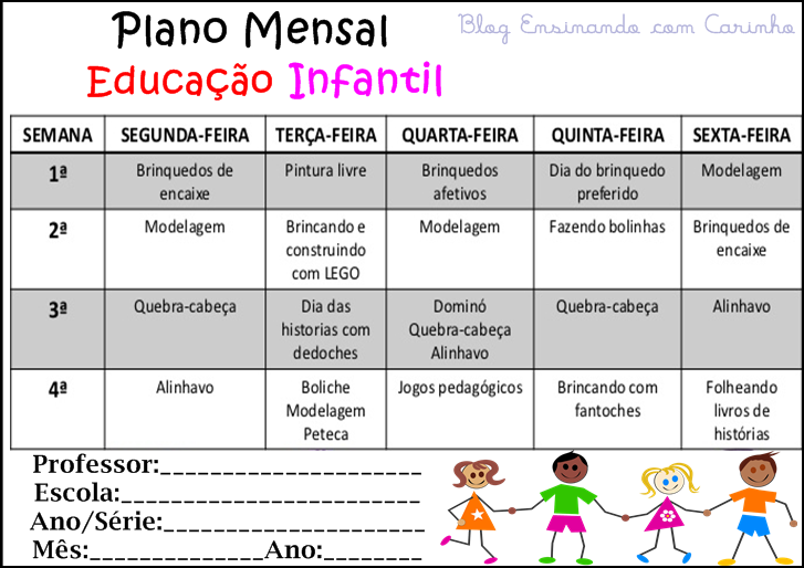 Plano de aula semanal educação infantil 4 anos