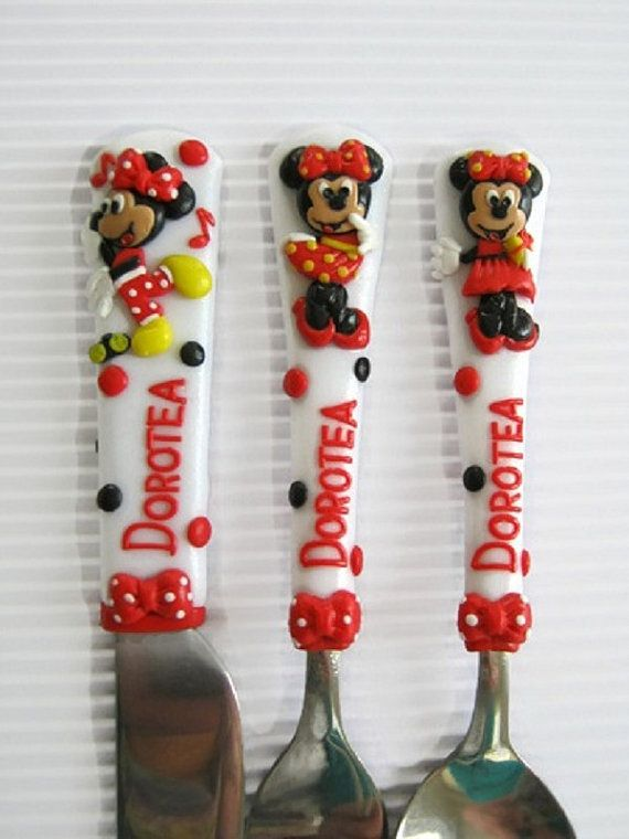Childrens cutleryrsonalized baby spoonbaby giftbaby shower personalized baby spoonbaby giftbaby shower giftflower girlcutlery for girlbirthday gifttoddlerpolymer clayminnie mouseredwhite negle Images