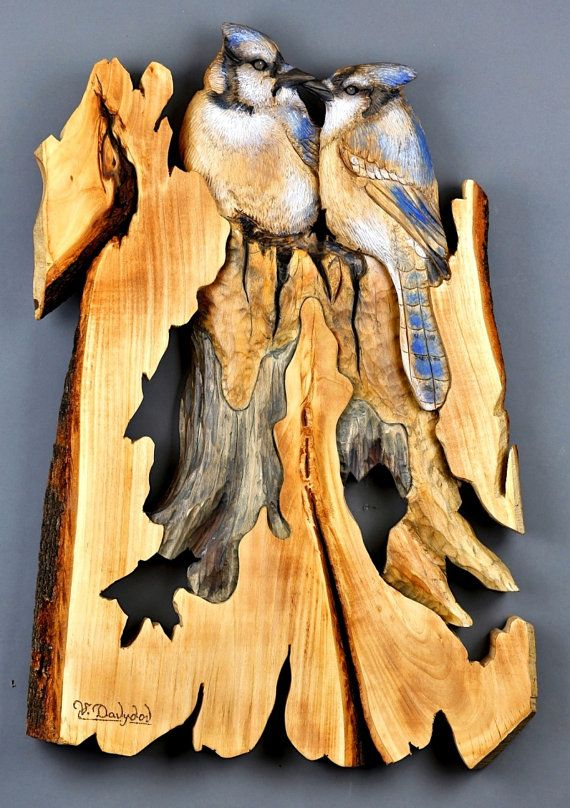 Aniversary Gift Blue Jays Woodcarving Hand Painted Decoration Unique ...