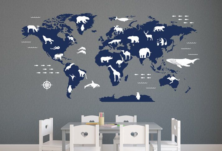 World map wall decal with animals nursery wall decals vinyl wall world map wall decal with animals nursery wall decals vinyl wall art by dahliadecals on etsy gumiabroncs Image collections