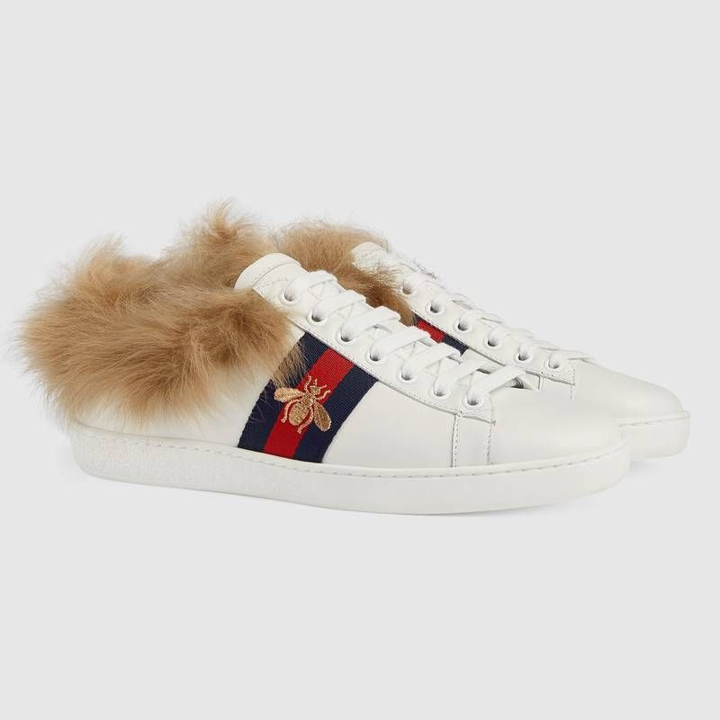 140a267eb4d The Ace sneaker is redesigned with a wool-lined interior and trim. Inspired  by a vintage Gucci sneaker with Web stripe along the sides, ...