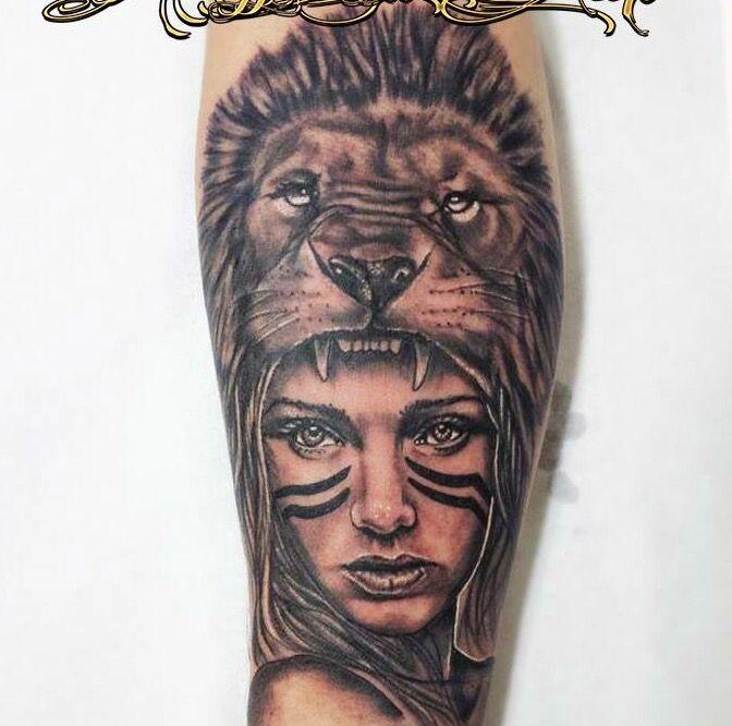 Mujer India Con Leon Tatuajes Pinterest Tatuajes Y Leones