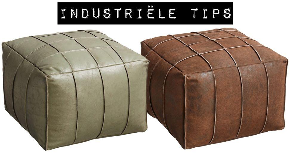 Fabulous Industriële tip: leren poef | Industrieel interieur - Industrial &GI72