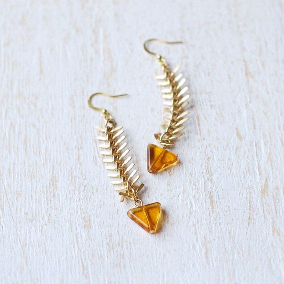 Fishbone Earrings With Amber Triangle Bead by kellyssima on Etsy