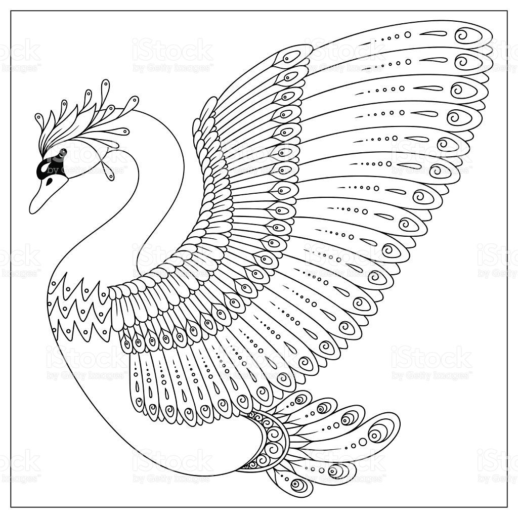 Drawing swan for coloring page, shirt design effect,, tattoo and ...