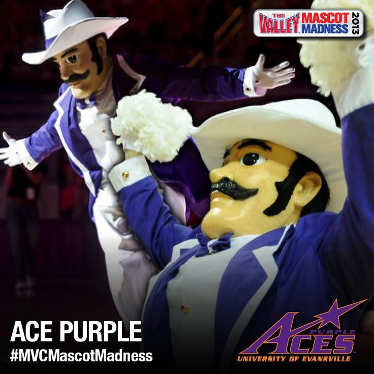 University Of Evansville Purple Aces Mascot Ace Purple University Of Evansville Evansville Missouri Valley