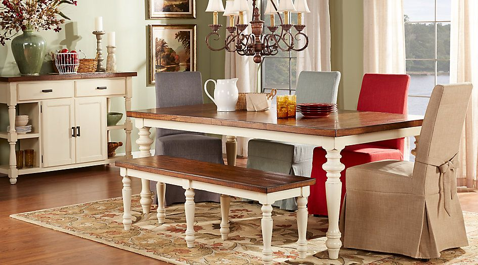 picture of Hillside Cottage White 5 Pc Dining Room with Tan ...