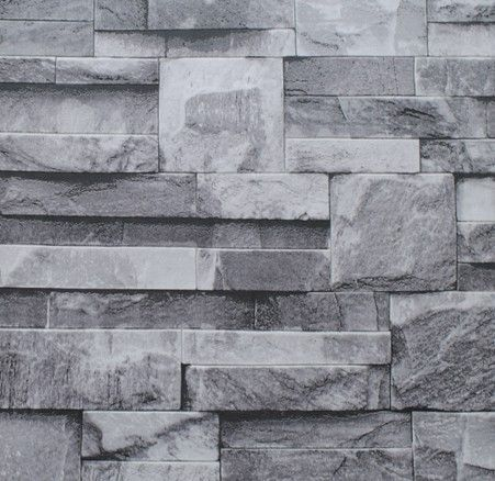 Grey black rustic vintage 3d vinyl brick wall wallpaper roll embossed texture photo faux stone - Divine images of home interior wall with grey brick wall ...