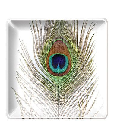 Take a look at this Peacock Plume Small Square Tray by Fringe Studio on #zulily today!