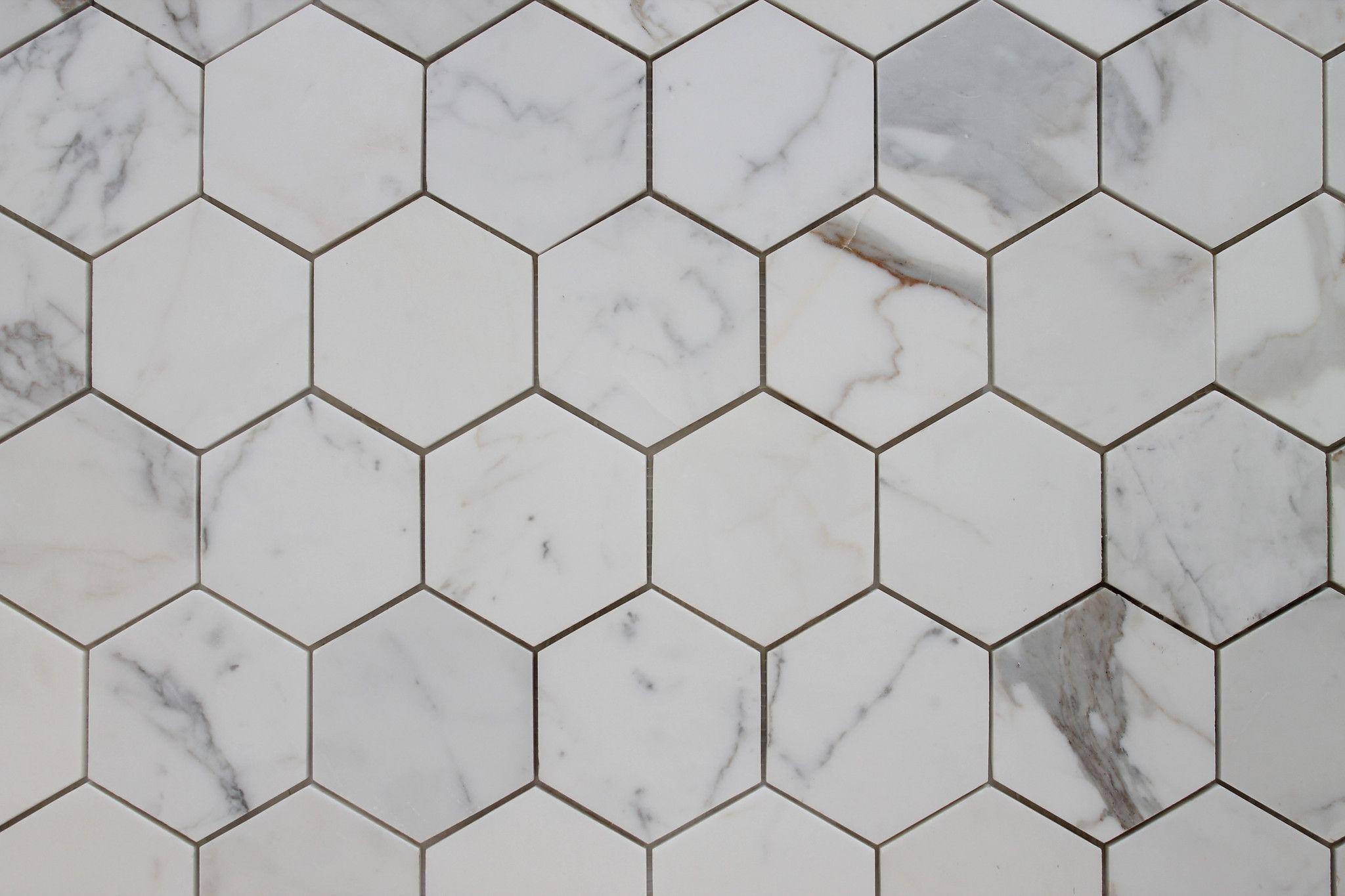 4 hexagon calacatta gold polished marble mosaic tiles