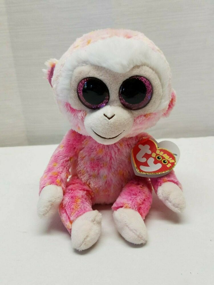 Retired TY 2014 Beanie Boos RUBY Pink Orange Monkey 6