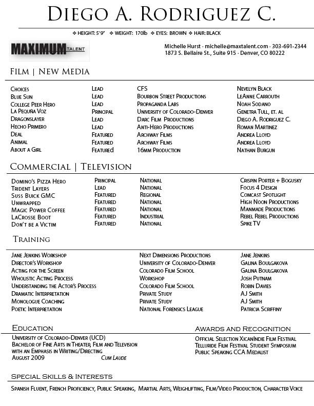 film resume template ca