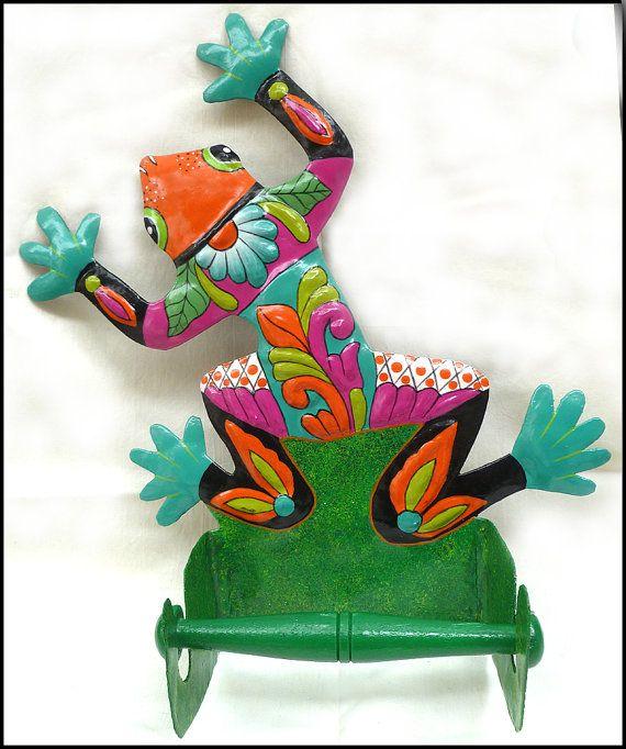 Painted Metal Frog Toilet Paper Holder Bathroom Décor   Haitian Recycled  Steel Drum Art   By