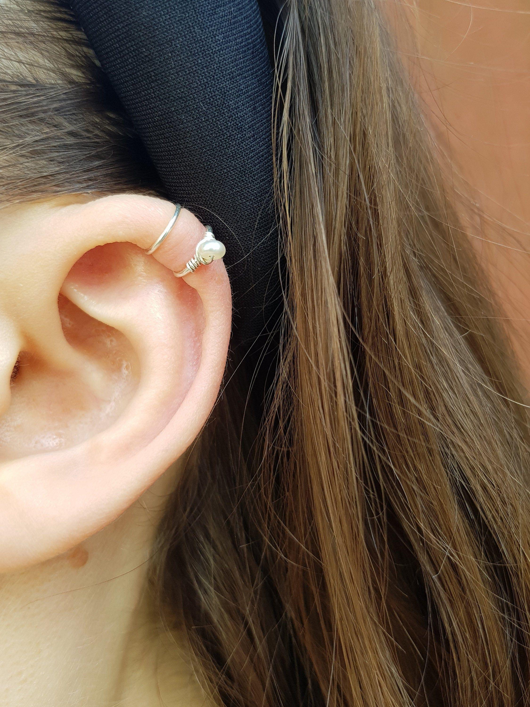 Pearl Ear Cuff No Piercing Silver Ear Cuff Conch Cuff Ear Cuff Non Pierced Fake Helix Piercing Ear Cuffs Cartilage Cuff Earring Ear Cuff Etsy Jewelry