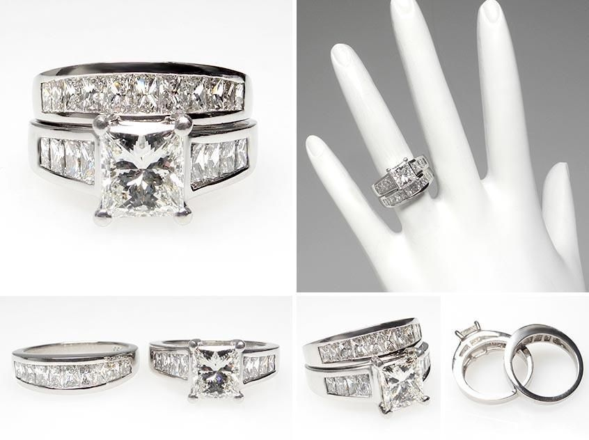 Solitaire Engagement Rings Princess Cut Wide Band 42   Engagement ...