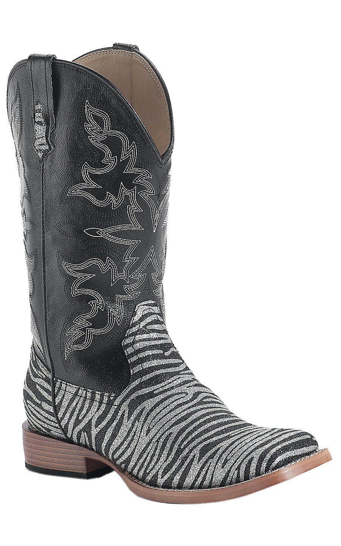 13d6422e47d Roper® Ladies Silver & Black Glitter Zebra Square Toe Western Boots ...