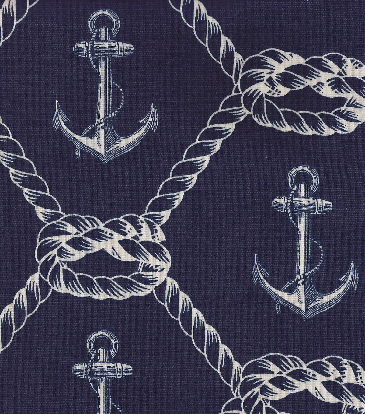 Nautical fabric anchors rope home decor fabric finds for Nautical nursery fabric