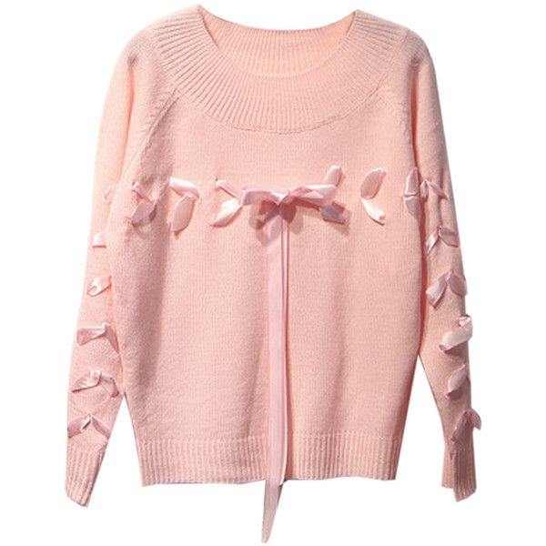 Pink Bow Ribbon Embellished Long Sleeve Sweater ($38) ❤ liked on ...