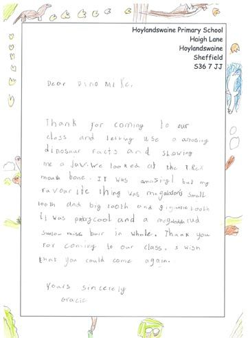 Dinosaur Themed Thank You Letter From Gracie You Can Encourage