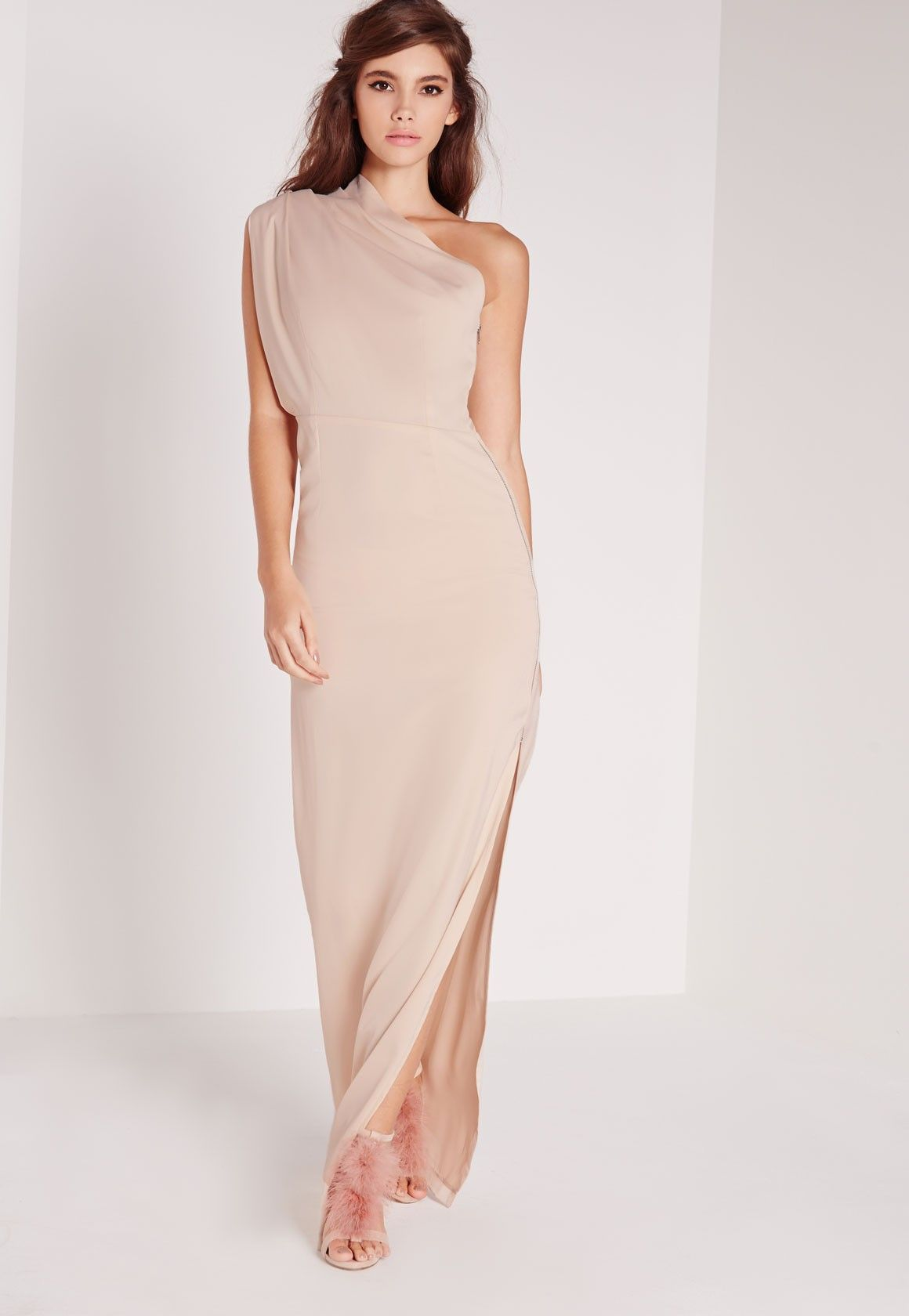ca479c3892 Missguided - Zip Detail One Shoulder Maxi Dress Nude