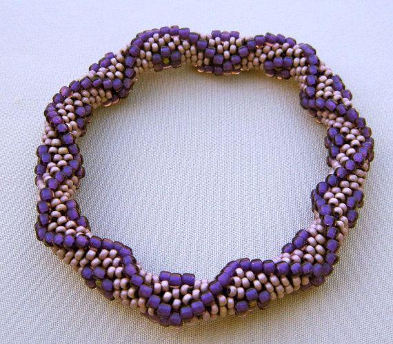 Bead Crochet Pattern: Diamonds and Flowers Bead Crochet Bangle ...