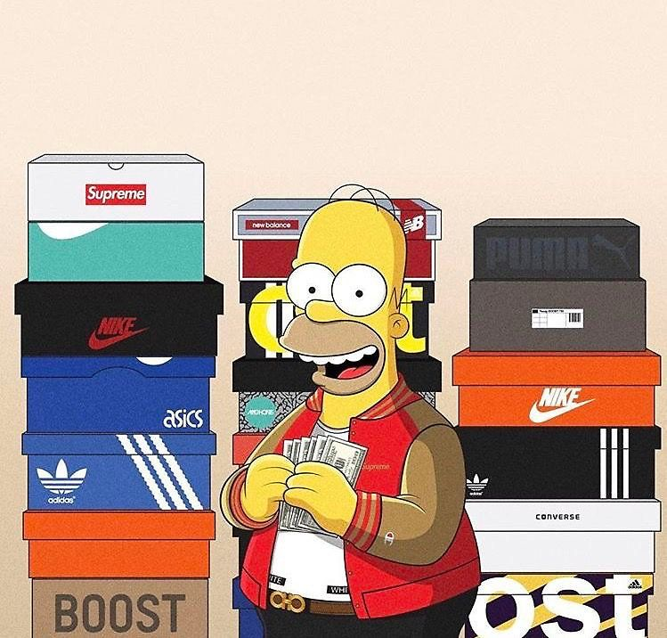 338b1b02fe Homer Stacked With Shoes   Dope in 2019   Homer Simpson, Simpsons ...
