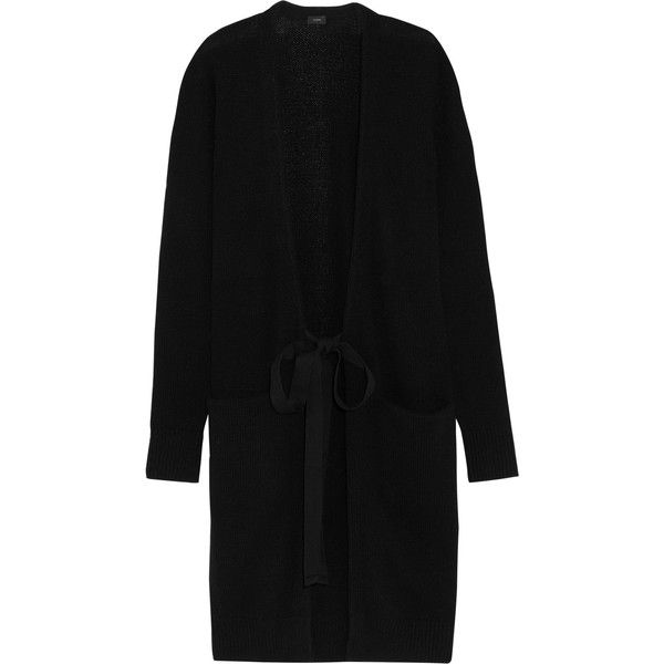Joseph Cashmere cardigan (£380) ❤ liked on Polyvore featuring tops, cardigans, black, tie knot top, cashmere cardigans, low top, cardigan top and cashmere tops