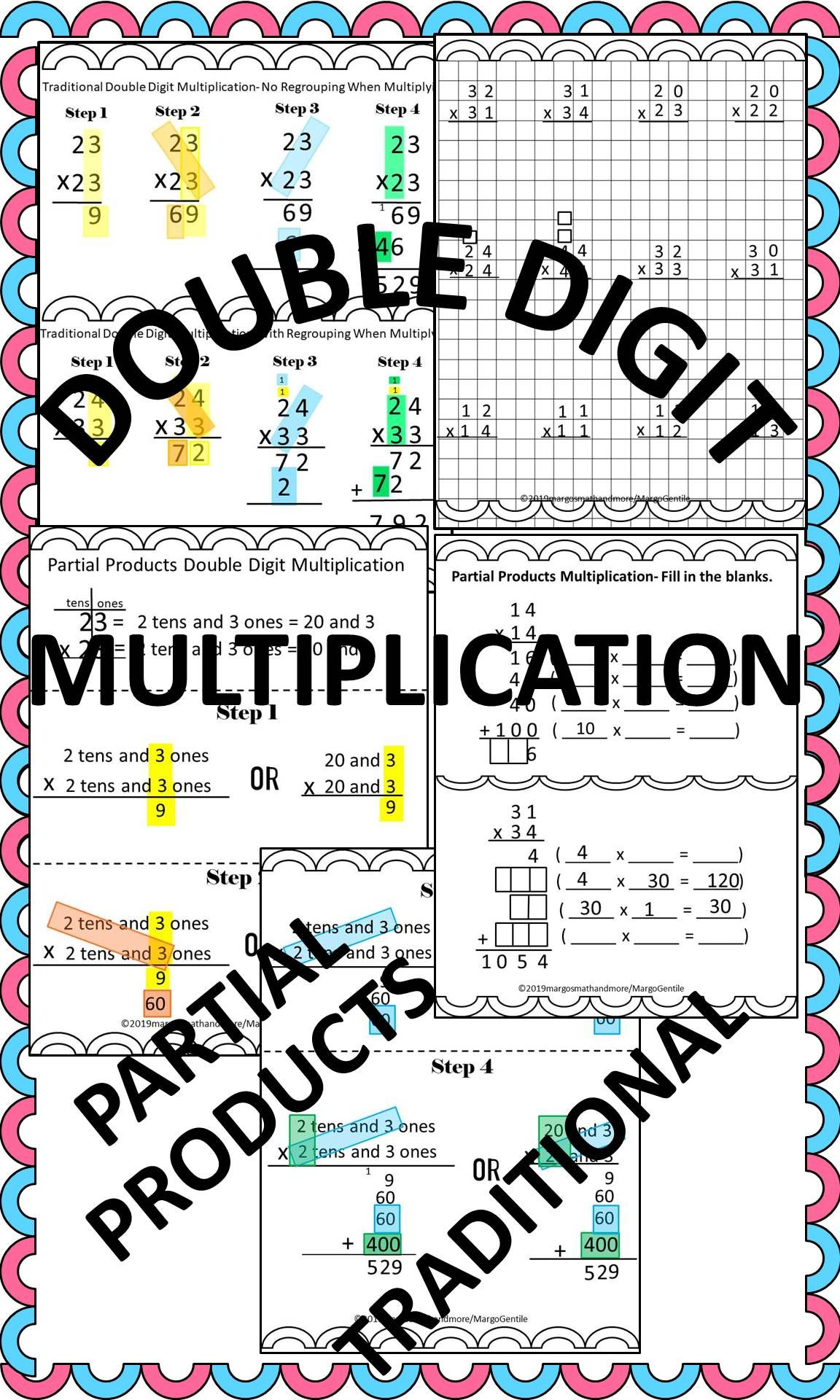 Double Digit Multiplication Traditional And Partial