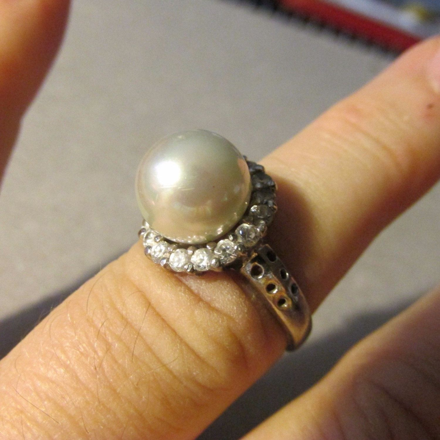 Classic Sterling Pearl RING Solitaire with CZ Accents Size 8 Marked 925 Vintage Anniversary Wedding June Birthstone Ladies Gift by GrammiesCupboard on Etsy
