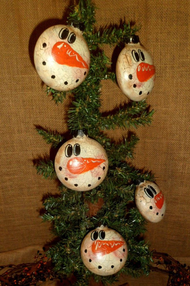 PRIMITIVE GLASS CRACKLE SNOWMAN TREE ORNAMENT COUNTRY CHRISTMAS HOME - country christmas decorations
