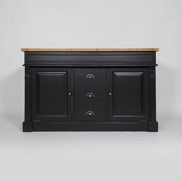 meuble salle de bain bois noir et cir 2 vasques 2 portes 3 tiroirs n4001 cire made in. Black Bedroom Furniture Sets. Home Design Ideas