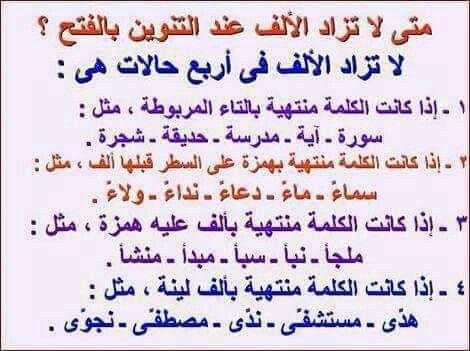 متی لاتزاد الألف عند التنوين بالفتح Arabic Alphabet Arabic Lessons Arabic Language