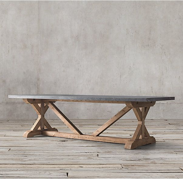Restoration Hardware Salvaged Wood Marble X Base Rectangular Dining Table