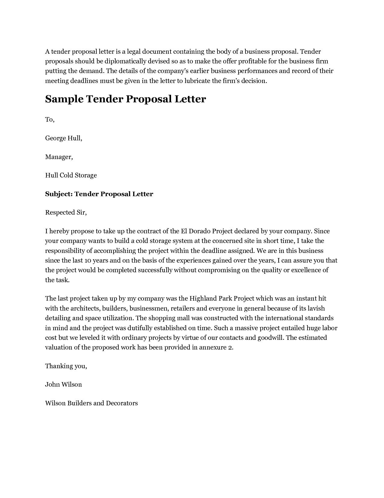 Doc Template Proposal Letter Sample Business  Home Design Idea