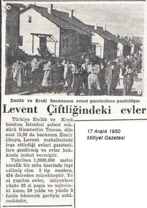 Levent Evleri. newspaper article. 1950. Milliyet.