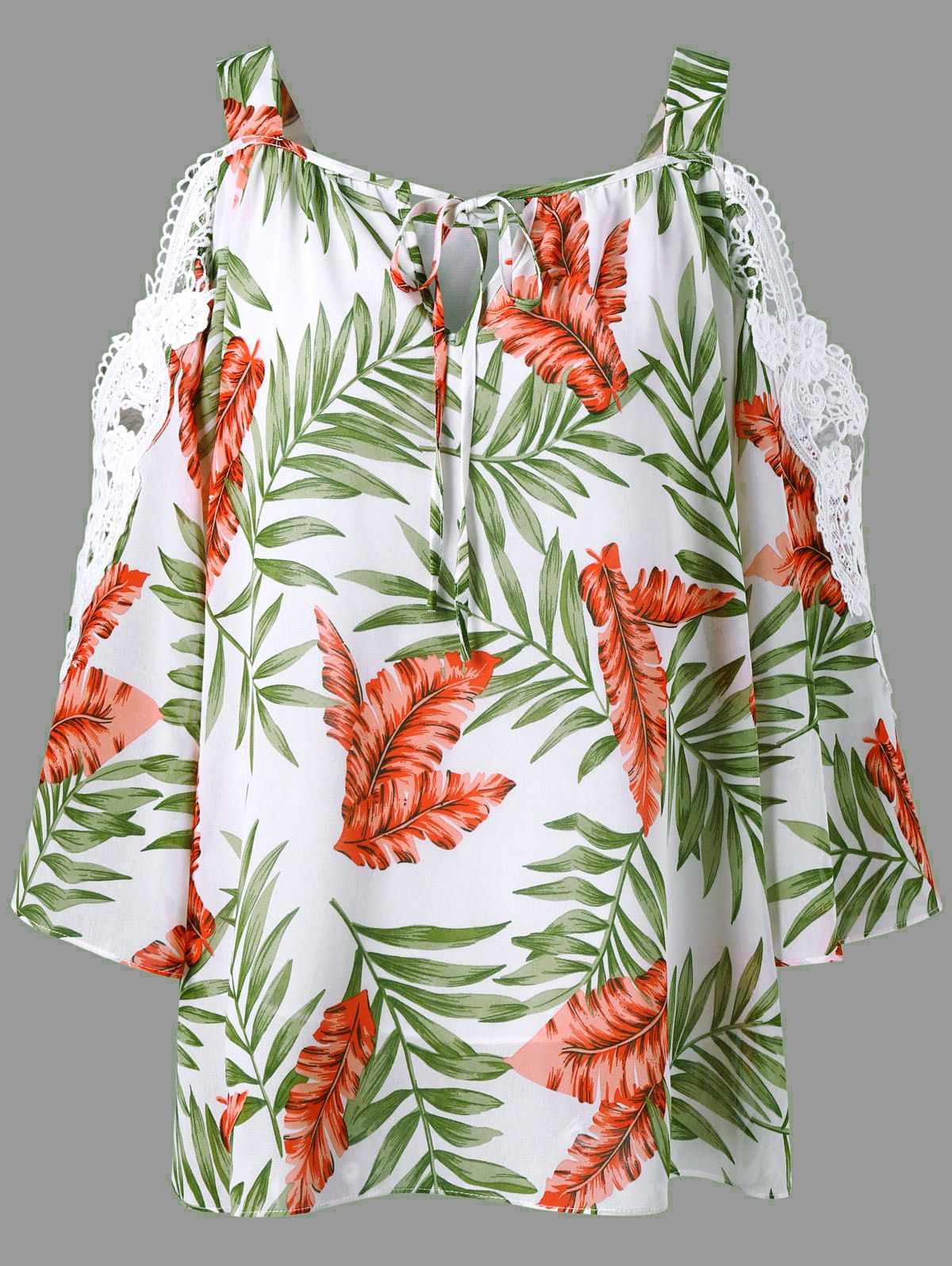 Lace Trim Cold Shoulder Hawaiian Blouse M In 2018 Clothes