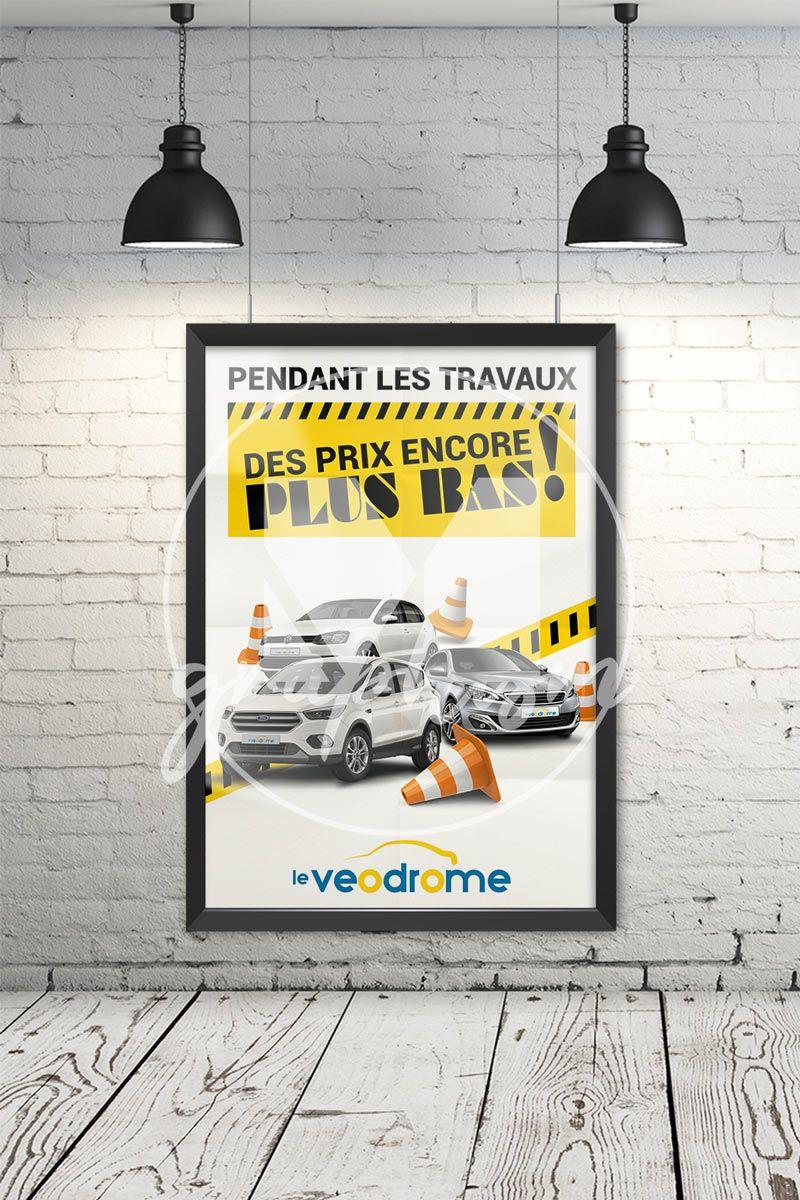 Affiche Travaux Concession Concession Automobile Affichage Travail