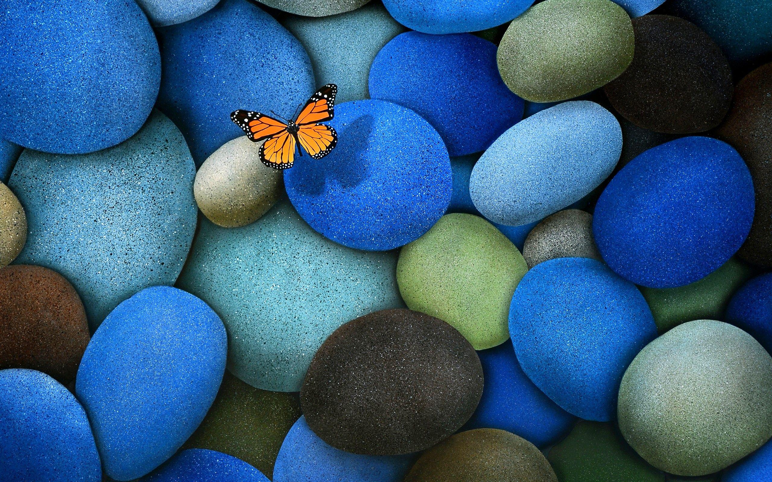 Butterfly On Blue Stones In 2020 Butterfly Wallpaper Beautiful Wallpapers Stone Wallpaper