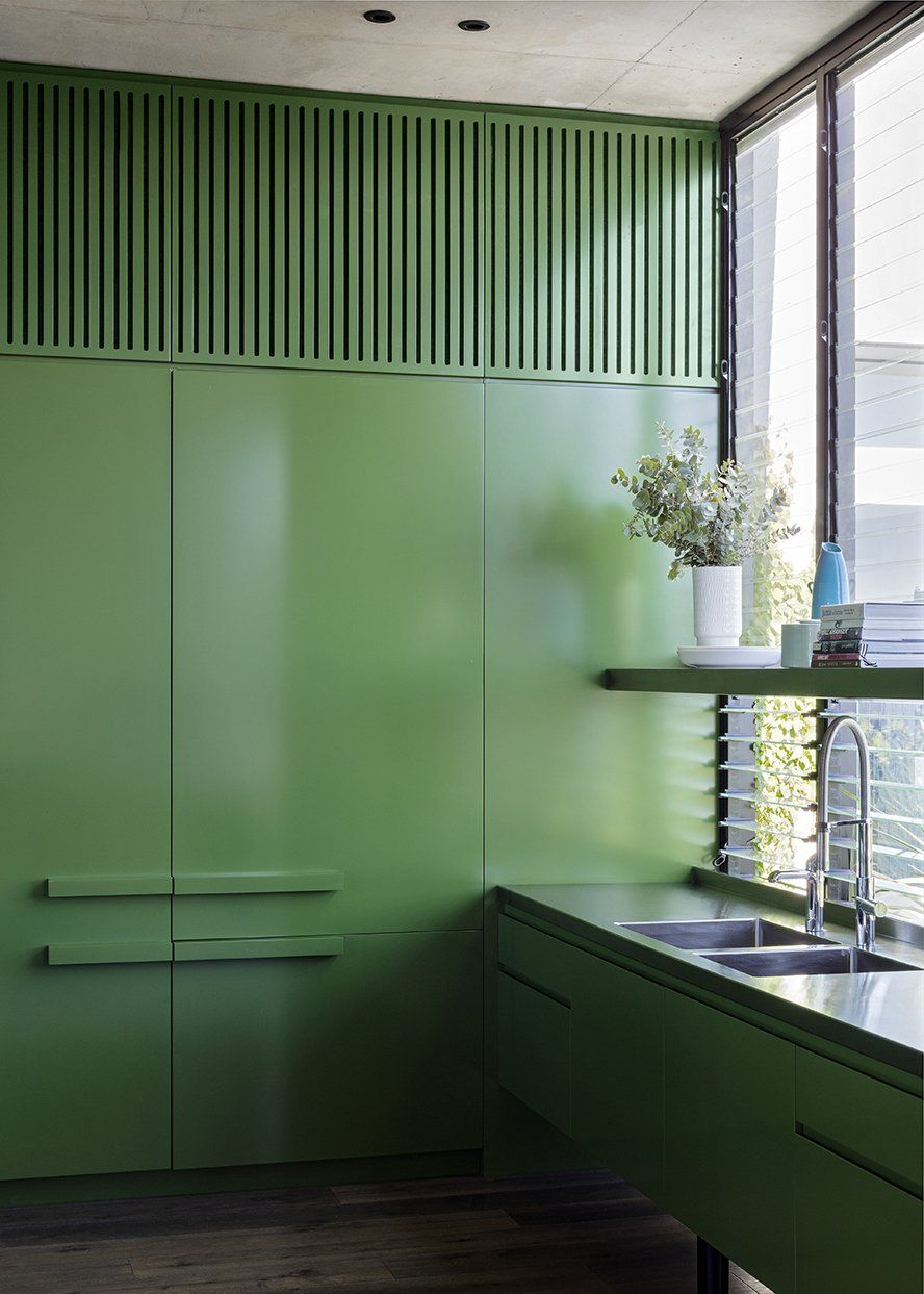GREEN KITCHEN L SJB | Projects   Cleveland Rooftop #RooftopGarden Green  Cabinets, Interior Architecture