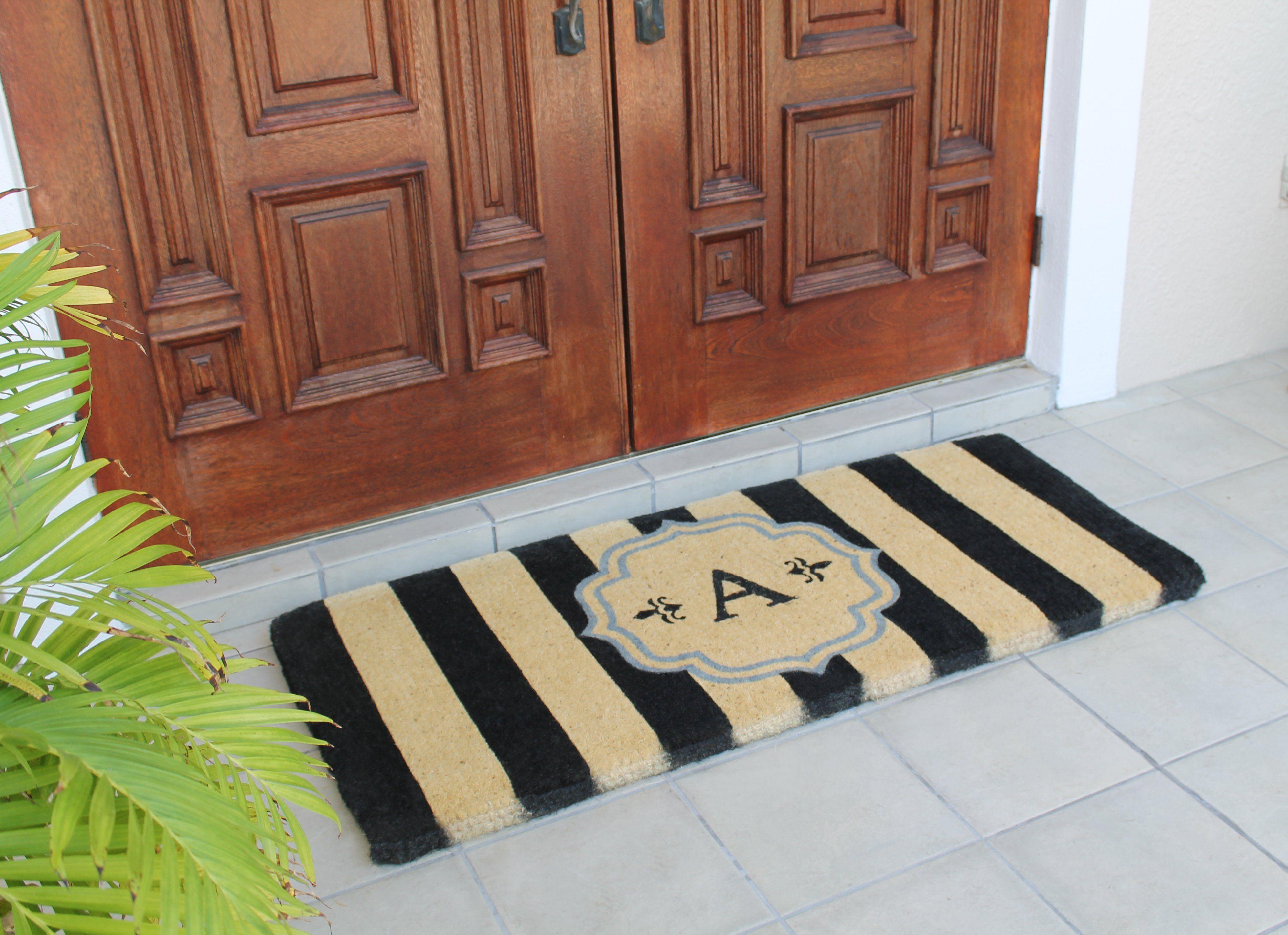 Warrick Stripe Monogrammed Coir Double Door Mat Monogram Door Mat Door Mat Double Doormat