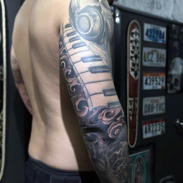 2c3b375a9 60 Music Sleeve Tattoos For Men - Lyrical Ink Design Ideas | music ...
